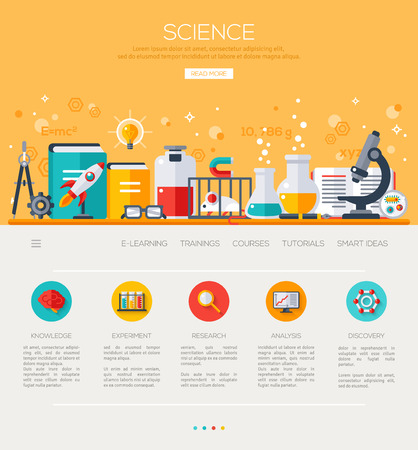 chemical experiment: One page web design template with flat science icons. Science Lab, Testing equipment, Analysis and Education. Scientific Research, Chemical Experiment. Illustration