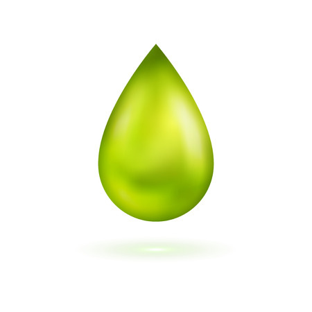 isolated on green: Green shining drop icon. Vector illustration. Glossy droplet, essence, isolated on white background.