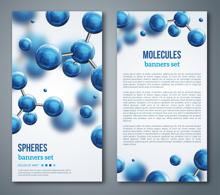 Vertical flyers abstract molecules design. Vector illustration. Atoms. Medical background for banner or poster. Molecular structure with blue spherical particles.