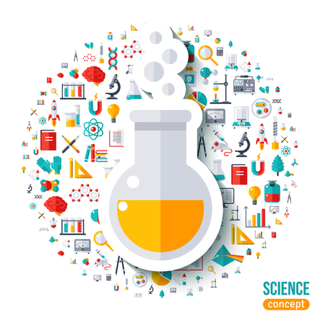 scientific experiment: Chemical flask with bubbles symbol flat sticker. Vector concept illustration with icons set of education and science. Scientific Research, Chemical Experiment.