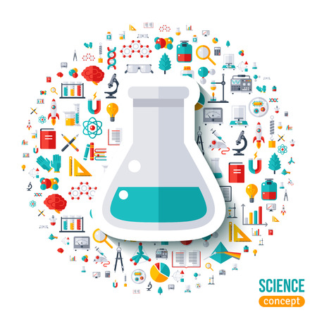 scientific experiment: Chemical flask symbol flat sticker. Vector concept illustration with icons set of education and science. Scientific Research, Chemical Experiment.