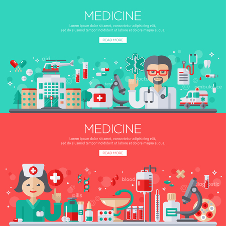 medical supplies: Flat design vector illustration concept of medicine. Doctor and nurse with medical supplies, banners set. Illustration