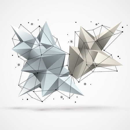 Abstract molecular structure with polygonal shapes and wireframe mesh. Vector illustration. Scientific technology background. Иллюстрация