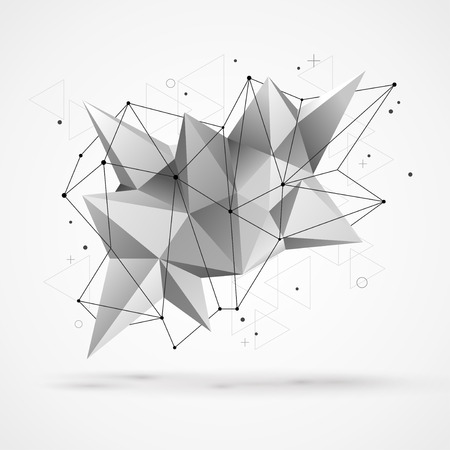 geometric shapes: Abstract molecular structure with polygonal shapes and wireframe mesh. Vector illustration. Scientific technology background. Illustration