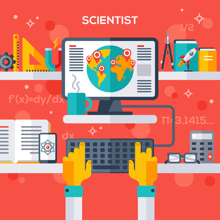 pc monitor: Flat design vector illustration concept of scientist workplace. Hand typing on keyboard, pc monitor with analytical research. Illustration