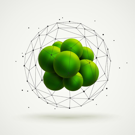atom: Abstract molecular structure with green particles group and wireframe mesh. Vector illustration. Scientific background. Illustration