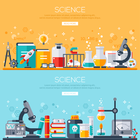 Flat design vector illustration concept of science. Horizontal banners set with scientist workplaces. Scientific Research, Chemical Experiment. Иллюстрация