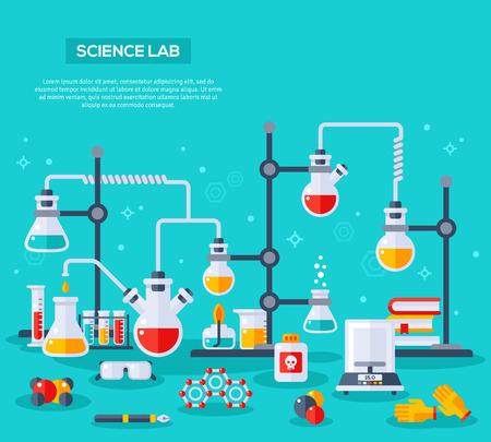 플랫 디자인 벡터 일러스트 화학 실험의 개념입니다. 화학자 실험실 작업 공간입니다. 화학 반응 연구
