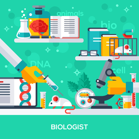 biologist: Flat design vector illustration concept of biologist workplace. Hand holding syringe, make injection, animal testing. Microscopic research.