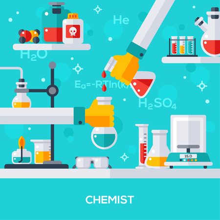 chemist: Flat design vector illustration concept of chemist workplace. Hand holding tube, drip in flask. Chemical experiment, reaction.