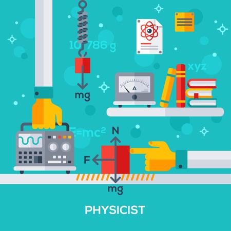 gravedad: Diseño plano ilustración vectorial concepto de lugar de trabajo físico. Mano que sostiene el osciloscopio. Las leyes físicas, la fuerza de fricción, gravedad. Libros y amperímetro.