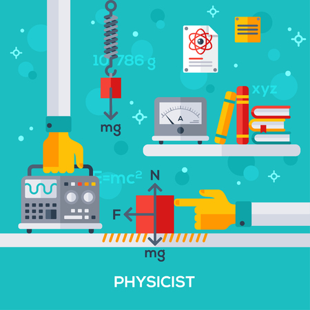 Flat design vector illustration concept of physicist workplace. Hand holding oscilloscope. Physical laws, friction force, gravity. Books and amperemeter. Illustration