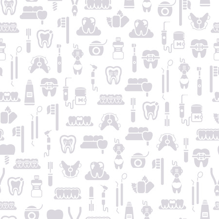 pediatrics: Seamless Dentist Equipment Pattern, Grey Symbols on White Background. Vector Illustration. Dental and Orthodontics Tools, Teeth. Monochrome Tiling. Illustration