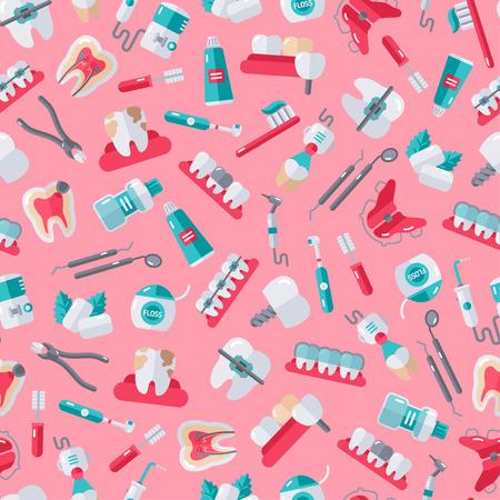 Nahtlose Zahnarzt Ausrüstung Muster auf rosa Hintergrund. Vektor-Illustration. Zahn-, Mund- und Kieferorthopädie Werkzeuge, Zahn. Standard-Bild - 60324979