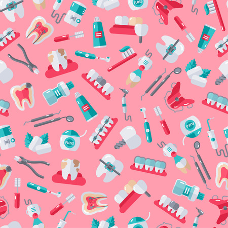 Seamless Dentist Equipment Pattern on Pink Background. Vector Illustration. Dental and Orthodontics Tools, Teeth. Ilustrace