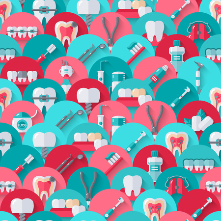 stomatology icon: Seamless dental pattern with flat equipment icons on circles. Vector illustration. Colorful dentistry background.
