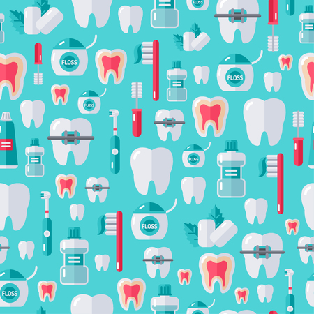 teeth white: Seamless dental pattern with flat tooth care icons and white teeth. Vector illustration. Colorful dentistry background.