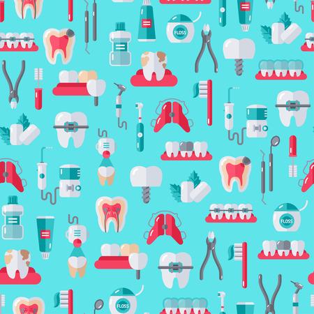 ortodoncia: Modelo incons�til de dentista equipo en el fondo azul. Ilustraci�n del vector. Herramientas dentales y ortodoncia, dientes.