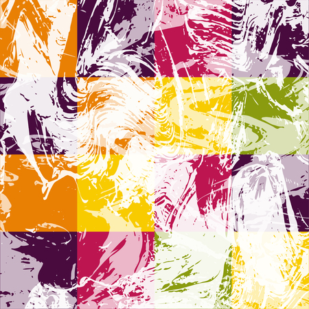 drips: Abstract geometric pattern with white paint strokes and drips. Vector Illustration. Vibrant colored square elements. Illustration