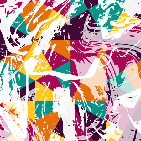 brush stroke: Abstract geometric pattern with white paint strokes. Vector Illustration. Retro colored triangles