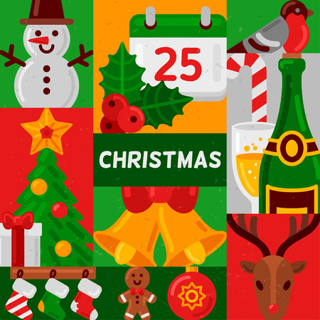 jingle bells: Merry Christmas poster with flat holiday icons in squares. Vector Illustration. Snowman, holly berry and calendar, champagne bottle, jingle bells, fir tree with gift, deer head. New Year design.