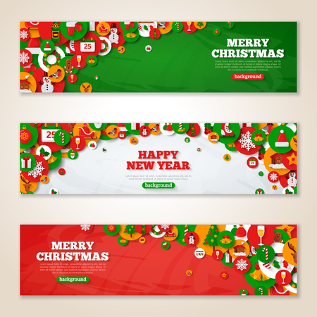 holiday season: Set of horizontal Christmas banners with flat holiday icons in circles. Vector illustration. New Year concept. Season Greetings.