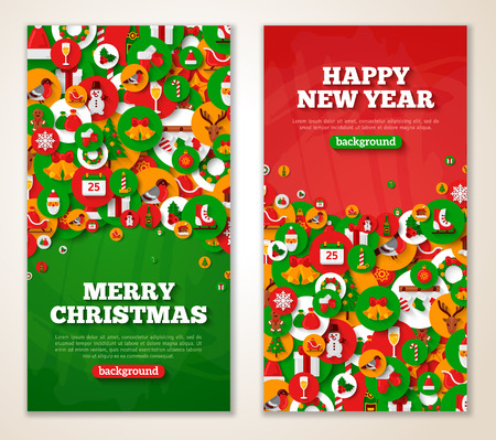 green card: Christmas greeting cards with flat holiday icons in circles. Vector illustration. Vertical red and green New Year banners with textured background. Illustration