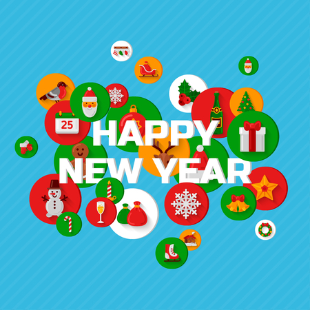 Happy New Year greetings with holiday flat icons in circles on blue background. Vector illustration. Illustration