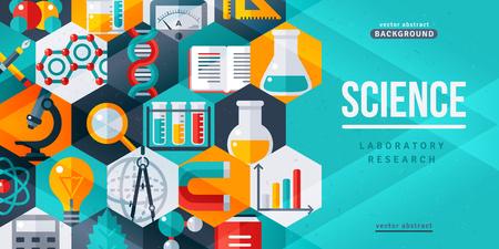 과학 실험실 연구 크리 에이 티브 배너입니다. 벡터 일러스트 레이 션. 플랫 디자인 육각형 과학 아이콘입니다. 웹 배너 및 홍보 자료에 대한 개념