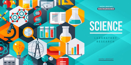 Science laboratory research creative banner. Vector illustration. Flat design scientific icons in hexagons. Concept for web banners and promotional materials Vettoriali