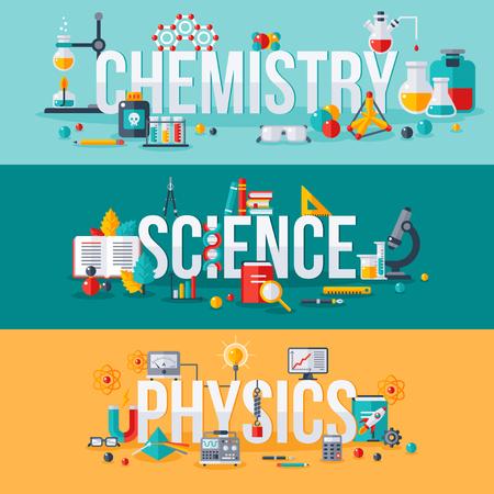 Química, ciencia, la física palabras con científicos iconos planos. ilustración vectorial concepto banners horizontales fijados. diseño de la tipografía posters