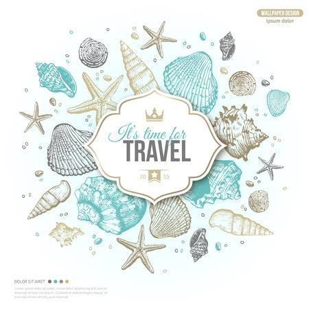 Vintage Summer Sea Shells Banner Design. Vector Background with Seashells, Seastar and Sand. Hand Drawn Etching Style. Place for Your Text. Travel Emblem Template with Crown. Çizim