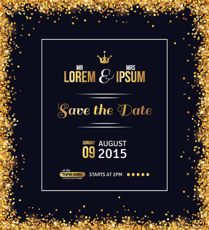 Wedding invitation card design. Gold confetti and black background. Vector illustration. Save the date. Typographic template for your text with square frame. Glittering dust.