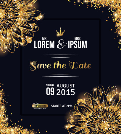 golden daisy: Wedding invitation card design. Gold confetti with flowers and black background. Vector illustration. Save the date. Typographic template for your text with square frame. Glittering dust.