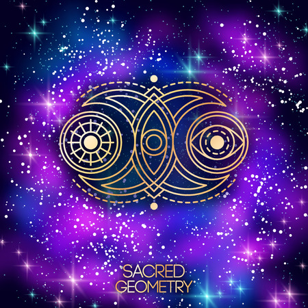 Sacred Geometry Emblem with Double Moon, Sun and Eye on Shining Galaxy Space Background. Vector illustration.