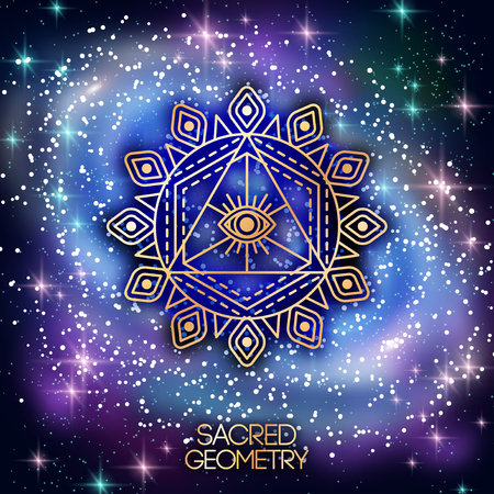 pentagram: Sacred Geometry Emblem with Eye in Triangle on Shining Galaxy Space Background. Vector illustration.