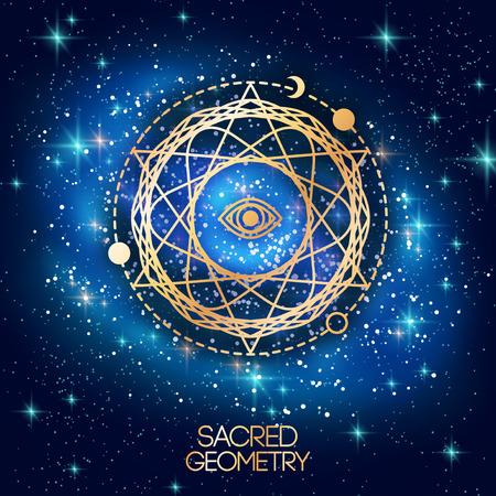 circulos concentricos: Geometría Sagrada Emblema con los ojos en la estrella en el fondo de la galaxia del espacio brillante. Ilustración del vector.