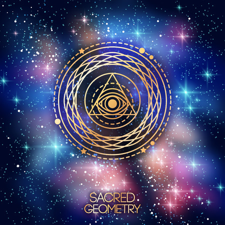 orbital: Sacred Geometry Emblem with Eye in Triangle on Shining Space Background. Vector illustration.