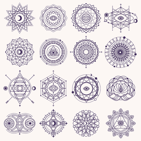 Set of Sacred Geometry Forms with Eye, Moon and Sun Isolated on White. Vector illustration. Vettoriali