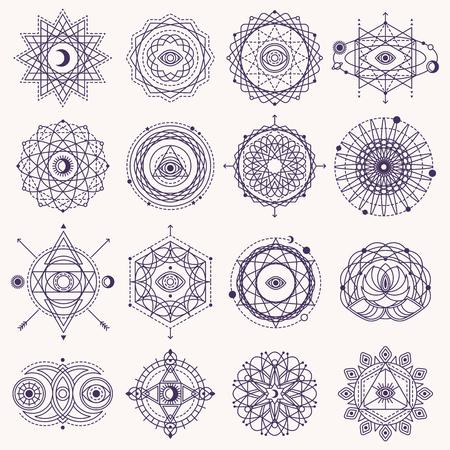Serie di moduli geometria sacra con gli occhi, Luna e Sole isolati su bianco. Illustrazione vettoriale.