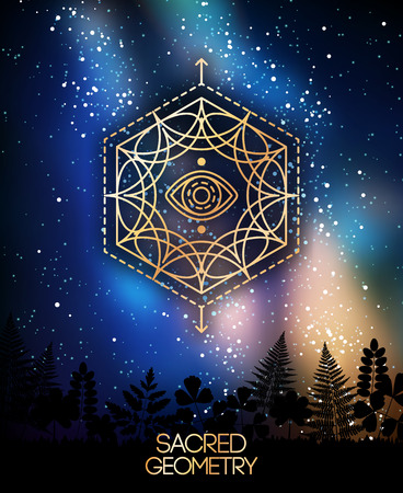 Sacred Geometry Emblem with Eye in Hexagon on Shining Milky Way Galaxy Space Background.