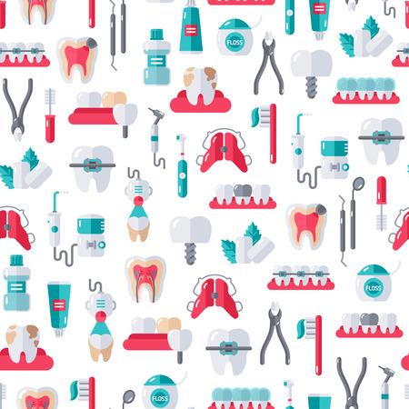 Naadloos Tandarts Apparatuur patroon op witte achtergrond. Vector Illustratie. Dental en Orthodontie Gereedschap, tanden. Vector Illustratie