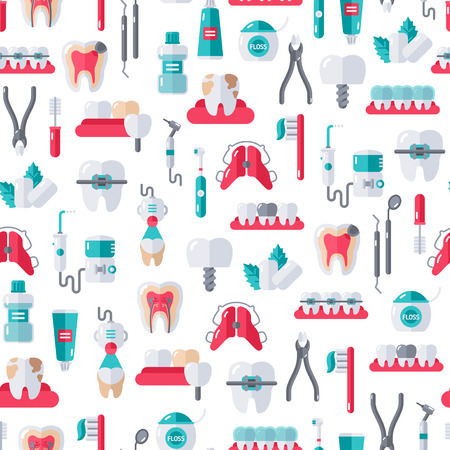drill: Seamless Dentist Equipment Pattern on White Background. Vector Illustration. Dental and Orthodontics Tools, Teeth. Illustration