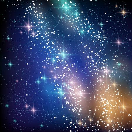 estrella: Vía Láctea en el cielo nocturno Negro. Ilustración del vector. Nubes del espacio azul y naranja con brillantes estrellas.