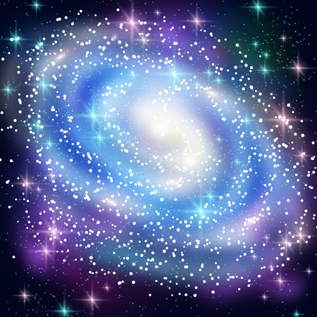 concept magical universe: Blue Spiral Galaxy with Shining Stars. Vector illustration. Glowing Outer Space Background.