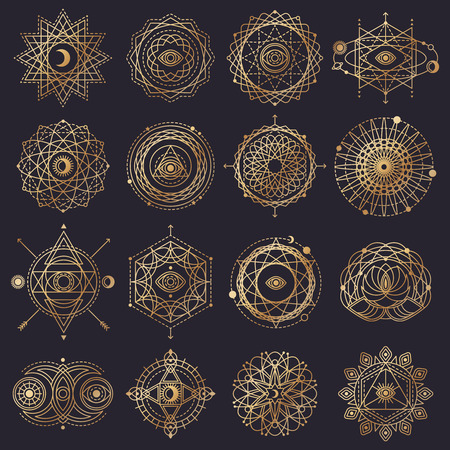 Sacred Geometry Forms with Eye, Moon, Sun. Vector illustration.