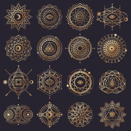 sacred symbol: Sacred Geometry Forms with Eye, Moon, Sun. Vector illustration.