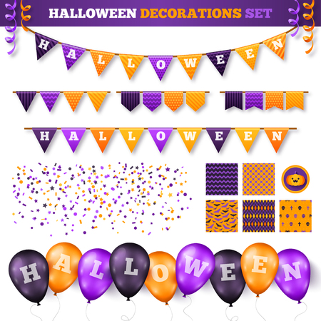 Halloween 3D-decoraties instellen geïsoleerd op wit. Vector illustratie. Vlaggenslinger met vakantiegroeten. Ballonnen in traditionele kleuren, Confetti en Serpentine, naadloze patronen voor Decor. Stock Illustratie