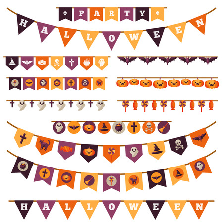 holiday garland: Halloween Decorations Set in Flat Style Isolated on White. Vector Illustration. Flag Garland with Holiday Cute Characters.