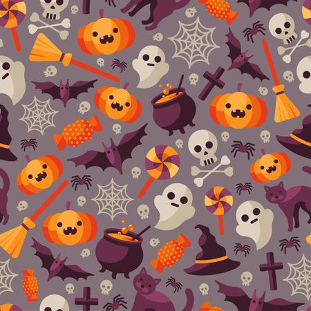 calabazas de halloween: Patrón sin fisuras de Halloween con calabaza naranja, Telaraña, caramelo, sombrero de la bruja, escoba y caldera, Bandera de piratas. Ilustración del vector. Los iconos planos sobre fondo oscuro